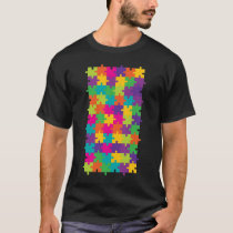 Colorful Jigsaw Puzzle Pattern T-Shirt