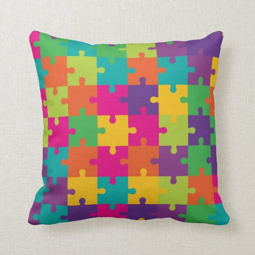 Colorful Jigsaw Puzzle Pattern Throw Pillow