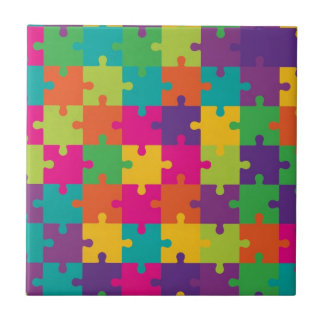 Colorful Jigsaw Puzzle Pattern Tile