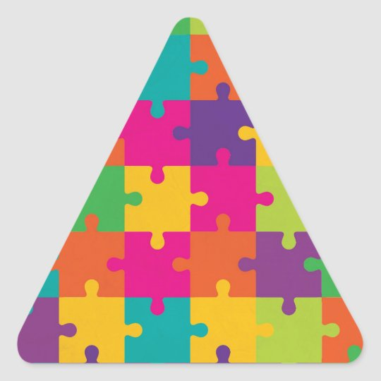 Colorful Jigsaw Puzzle Pattern Triangle Sticker