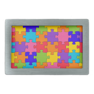 Colorful Jigsaw Puzzle Pieces Happy Puzzler Belt Buckle