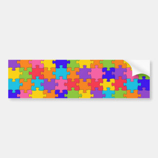 Colorful Jigsaw Puzzle Pieces Happy Puzzler Bumper Sticker