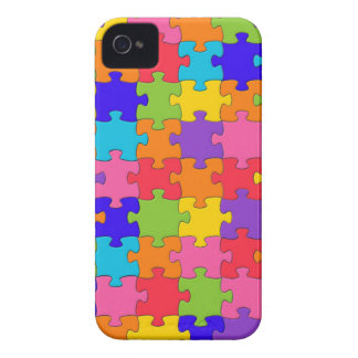 Colorful Jigsaw Puzzle Pieces Happy Puzzler iPhone 4 Case