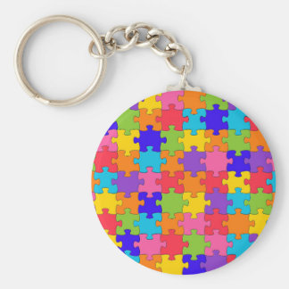 Colorful Jigsaw Puzzle Pieces Happy Puzzler Keychain