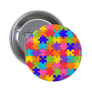Colorful Jigsaw Puzzle Pieces Happy Puzzler Pinback Button