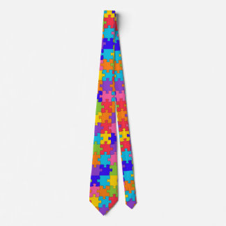 Colorful Jigsaw Puzzle Pieces Happy Puzzler Tie