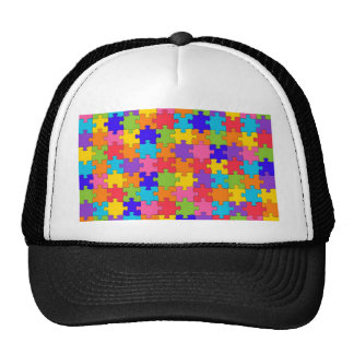 Colorful Jigsaw Puzzle Pieces Happy Puzzler Trucker Hat