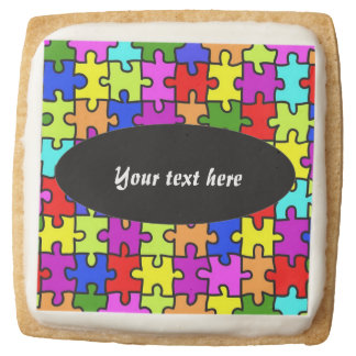 Colorful jigsaw puzzle square shortbread cookie