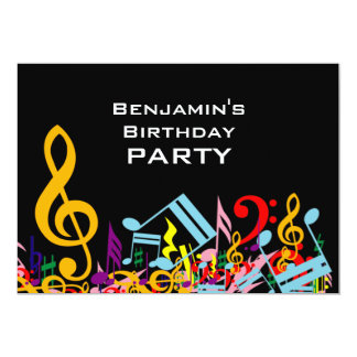 Colorful Jumbled Music Notes Birthday Party 5x7 Paper Invitation Card