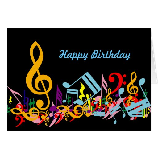 Colorful Jumbled Music Notes Happy Birthday Greeting Card To You Links For Facebook