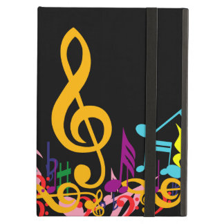 Colorful Jumbled Music Notes on Black Case For iPad Air