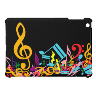 Colorful Jumbled Music Notes on Black Case For The iPad Mini