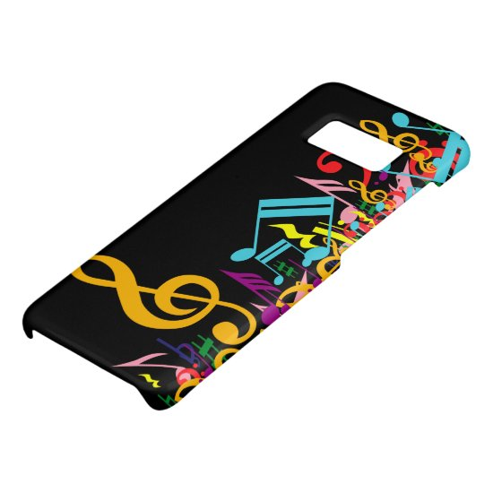 Colorful Jumbled Music Notes on Black Case-Mate Samsung Galaxy S8 Case