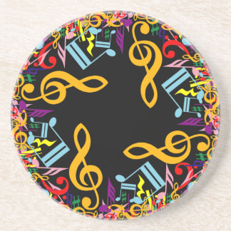 Colorful Jumbled Music Notes on Black Coaster