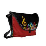 Colorful Jumbled Music Notes on Black Courier Bags