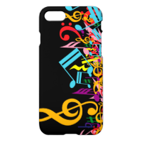 Colorful Jumbled Music Notes on Black iPhone 7 Case