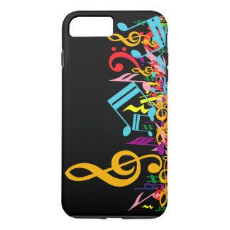 Colorful Jumbled Music Notes on Black iPhone 7 Plus Case
