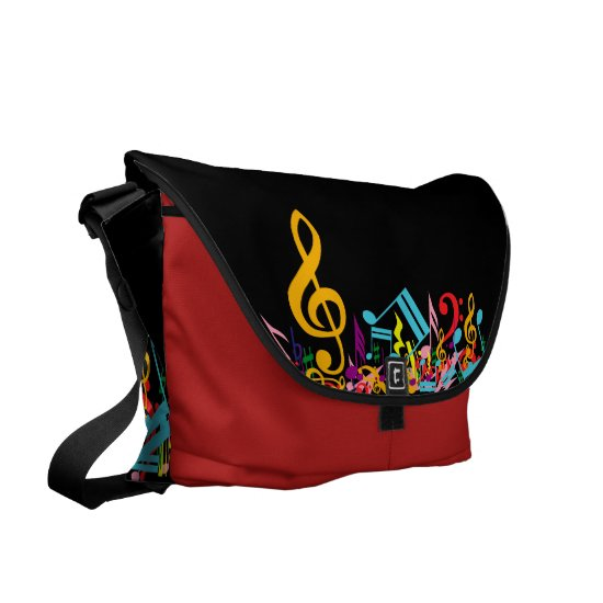 Colorful Jumbled Music Notes on Black Messenger Bag