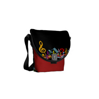 Colorful Jumbled Music Notes on Black Messenger Bags