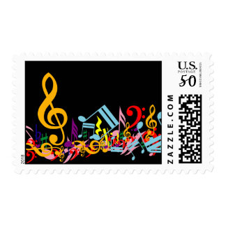 Colorful Jumbled Music Notes on Black Postage