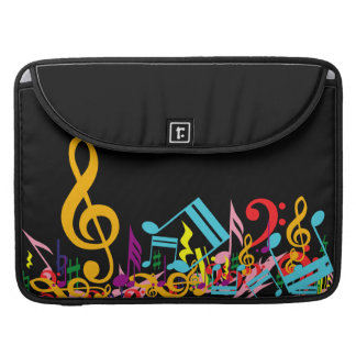Colorful Jumbled Music Notes on Black Sleeve For MacBook Pro