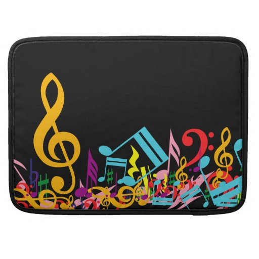 Colorful Jumbled Music Notes on Black Sleeves For MacBook Pro