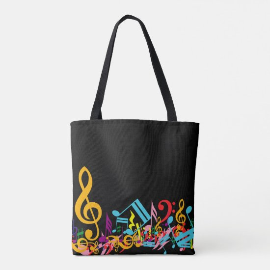 Colorful Jumbled Music Notes on Black Tote Bag