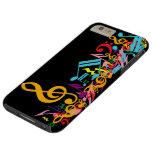 Colorful Jumbled Music Notes on Black Tough iPhone 6 Plus Case