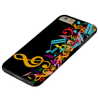 Colorful Jumbled Music Notes on Black Tough iPhone 6 Plus Case