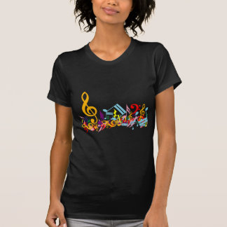 Colorful Jumbled Music Notes on Black T Shirt