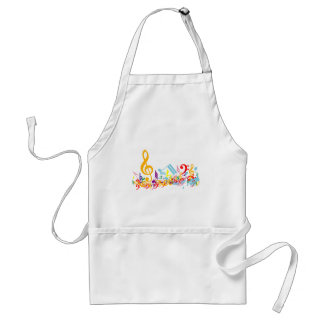 Colorful Jumbled Musical Notes Adult Apron