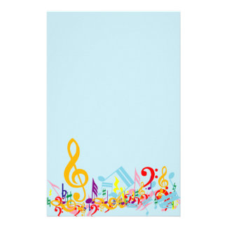 Colorful Jumbled Musical Notes Stationery