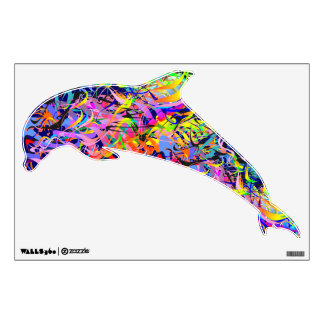 Colorful Jumping Dolphin A1 Wall Decal