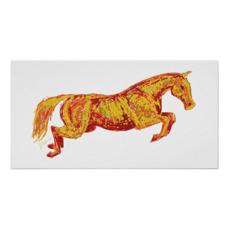 Colorful Jumping Horse Poster