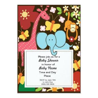 Colorful Jungle Animals Neutral Baby Shower Invita Announcement