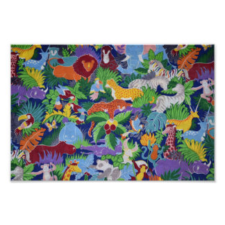 Colorful Jungle Animals Poster