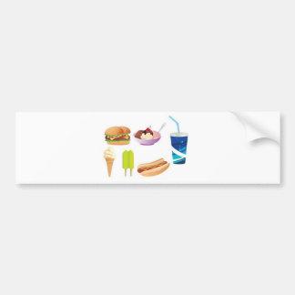 Colorful junk food design bumper sticker