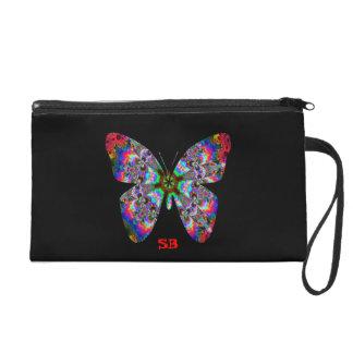 Colorful Kaleidoscope Butterfly Design Wristlet Purses