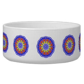 Colorful kaleidoscope circle pattern dog bowl