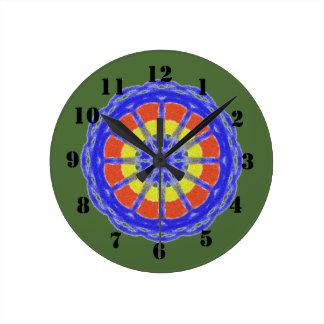 Colorful kaleidoscope circle pattern round clock