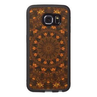 Colorful kaleidoscope mosaic wood phone case