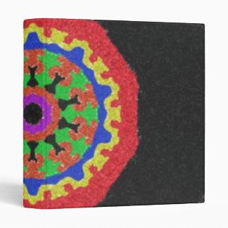 Colorful kaleidoscope pattern on a black backgroun binders