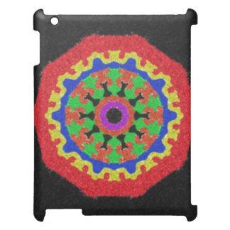 Colorful kaleidoscope pattern on a black backgroun iPad covers