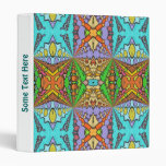 colorful kaleidoscopic pattern 3 ring binders