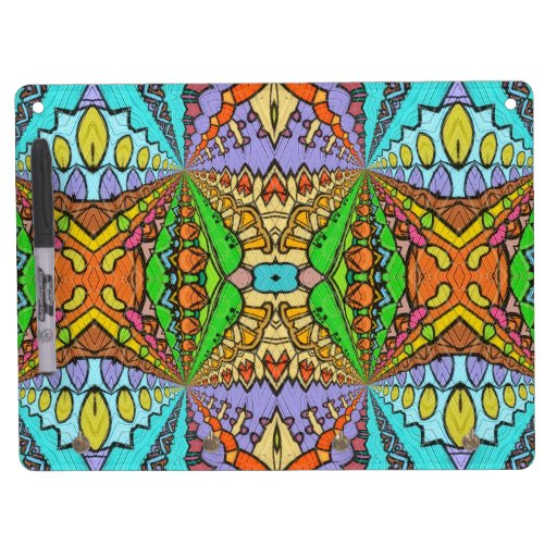 colorful kaleidoscopic pattern dry erase whiteboards