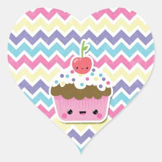 Colorful Kawaii Cupcake on Chevrons Heart Sticker