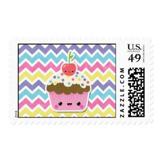 Colorful Kawaii Cupcake on Chevrons Postage Stamp