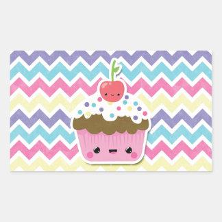 Colorful Kawaii Cupcake on Chevrons Rectangular Sticker