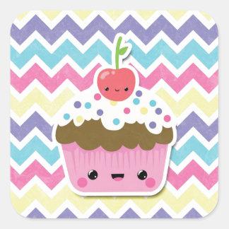 Colorful Kawaii Cupcake on Chevrons Square Sticker