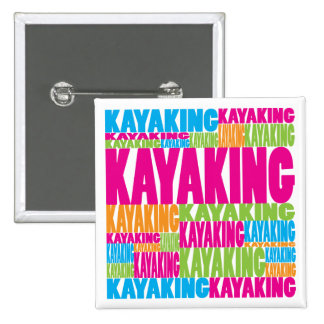 Colorful Kayaking Pinback Buttons